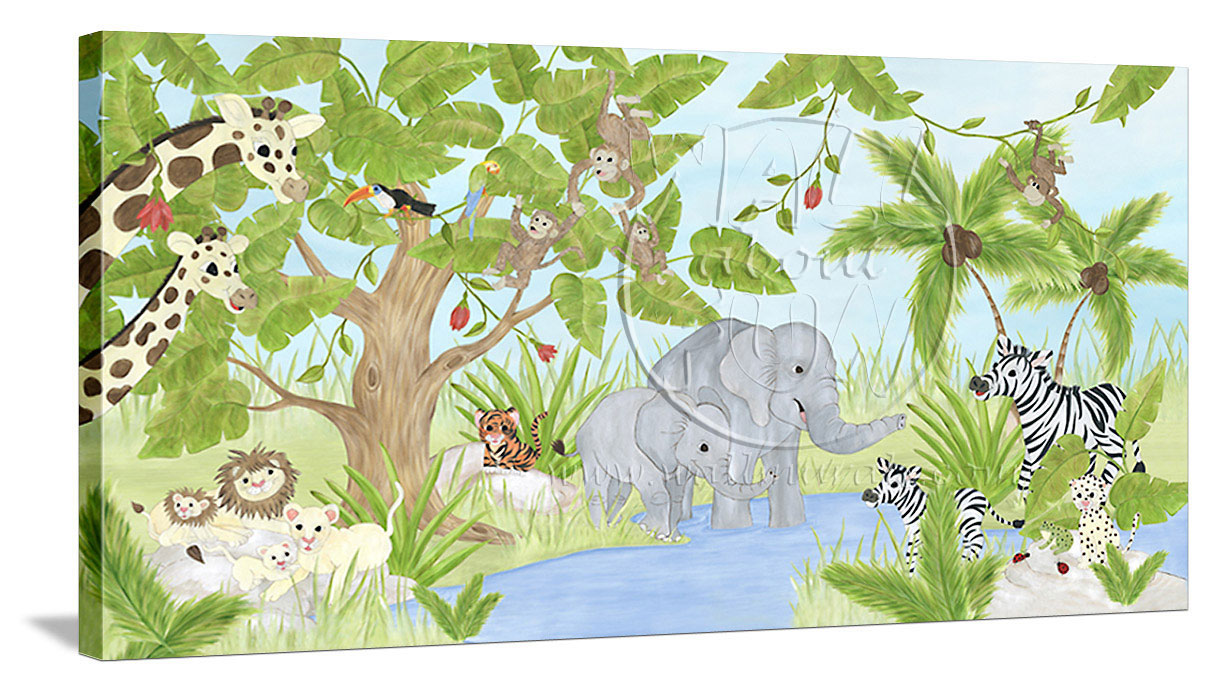 Wall about fun jungle theme canvas wall art jungle for Canvas mural painting