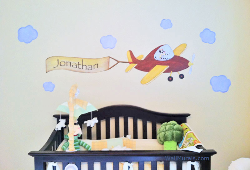 Airplane wall mural with personalized banner for Airplane wall mural