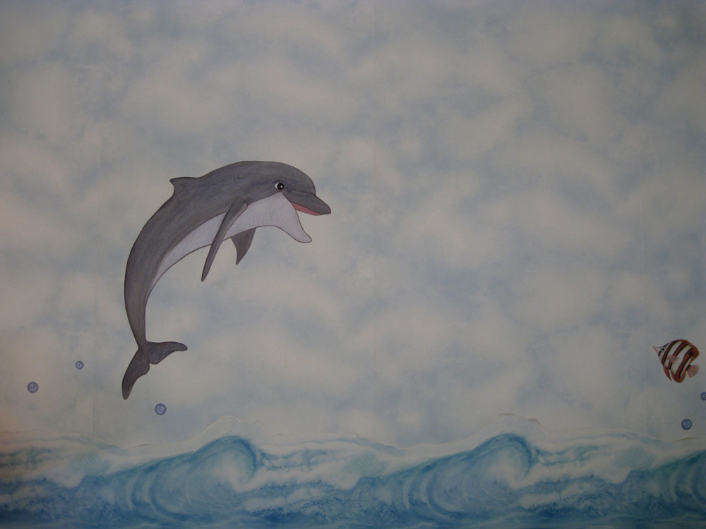 Dolphin wall mural for Dolphin mural wallpaper
