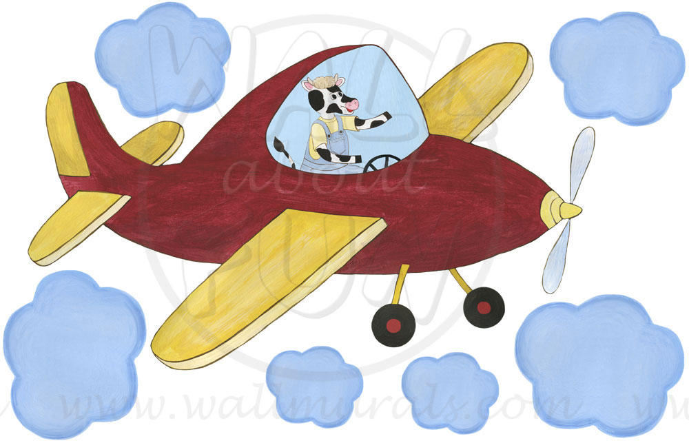 Fun Airplane Wall Decals : Pig Airplane