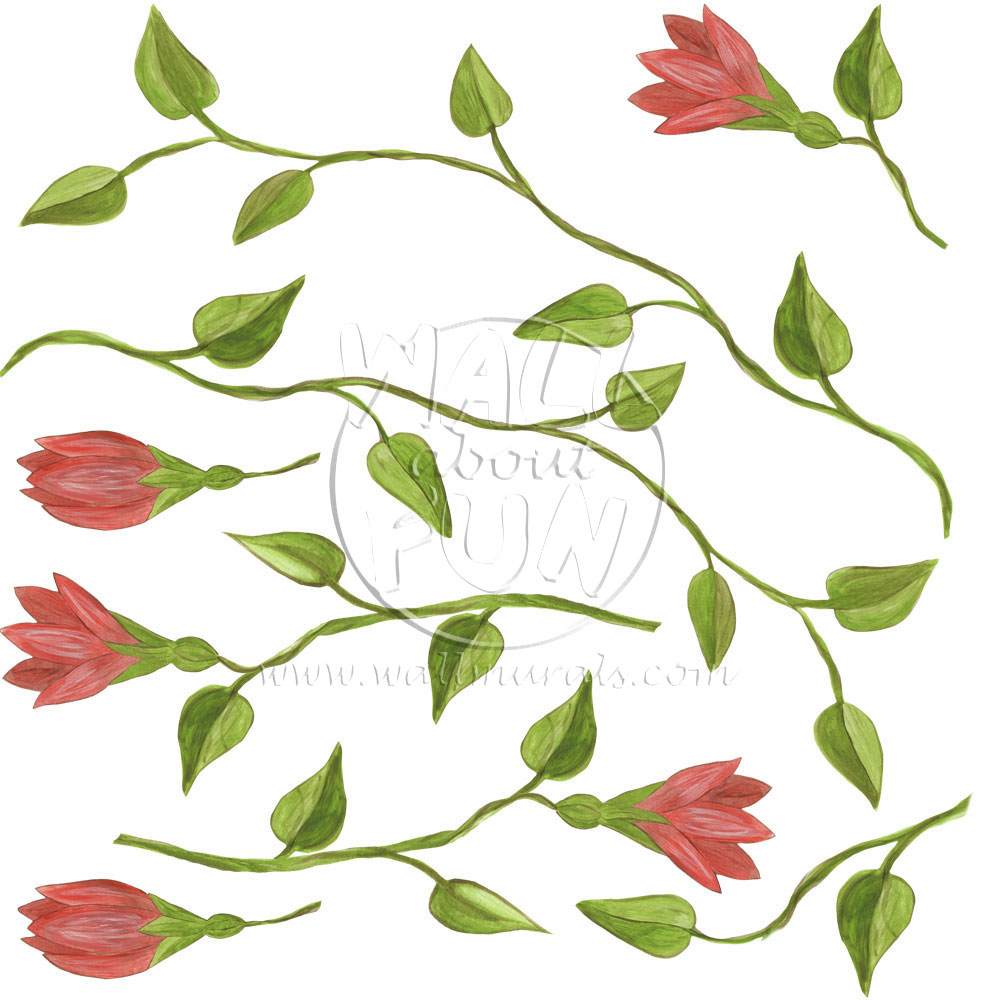 Jungle Wall Decals Flower Vines and Leaves