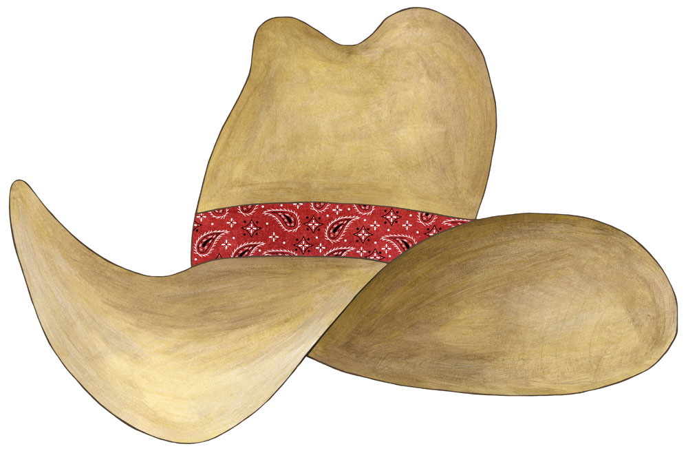 Cowboy Hat Paintings Cowboy Hat Navy Bandana