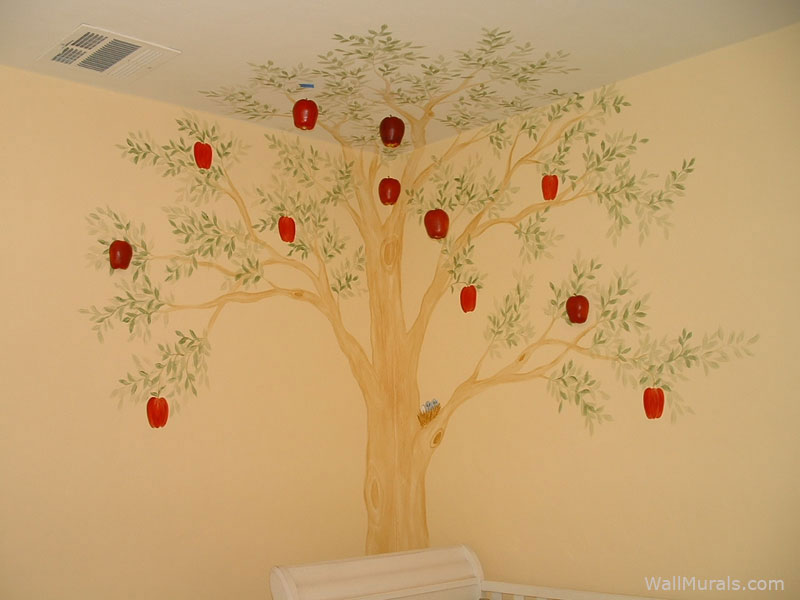 Tree wall murals by colette tree paintings on walls for Apple boutique mural