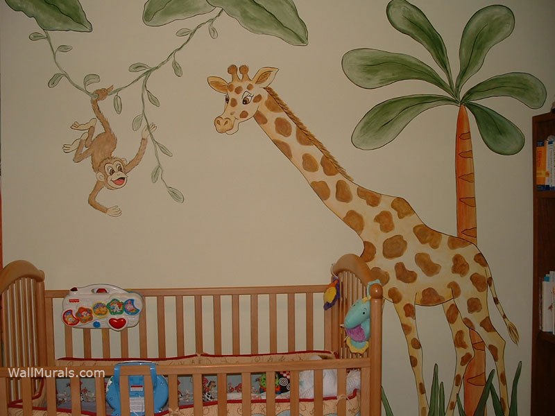 Baby room wall murals by colette nursery wall murals for for Baby jungle safari wall mural