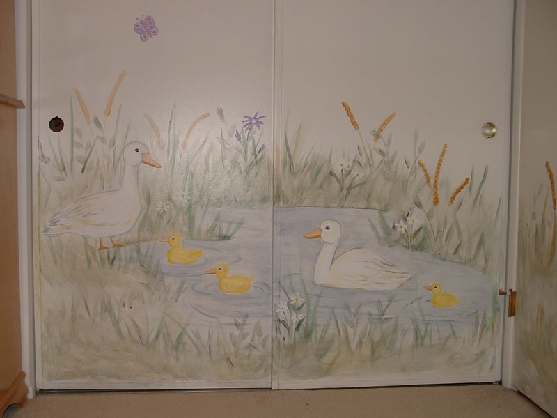 Nursery wall murals by colette baby nursery wall murals for Duck pond mural