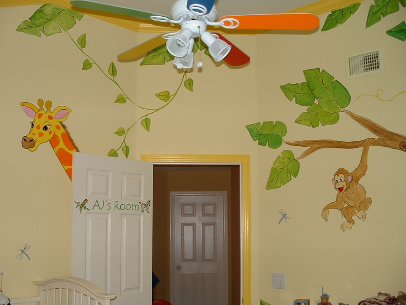 Baby room wall murals by colette nursery wall murals for for Baby room jungle mural