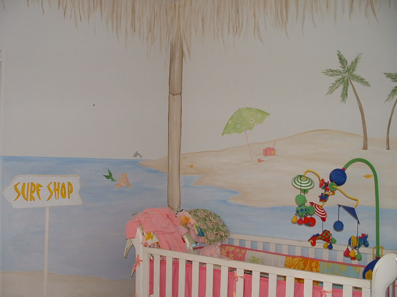 bamboo cabana ocean theme mural. Black Bedroom Furniture Sets. Home Design Ideas