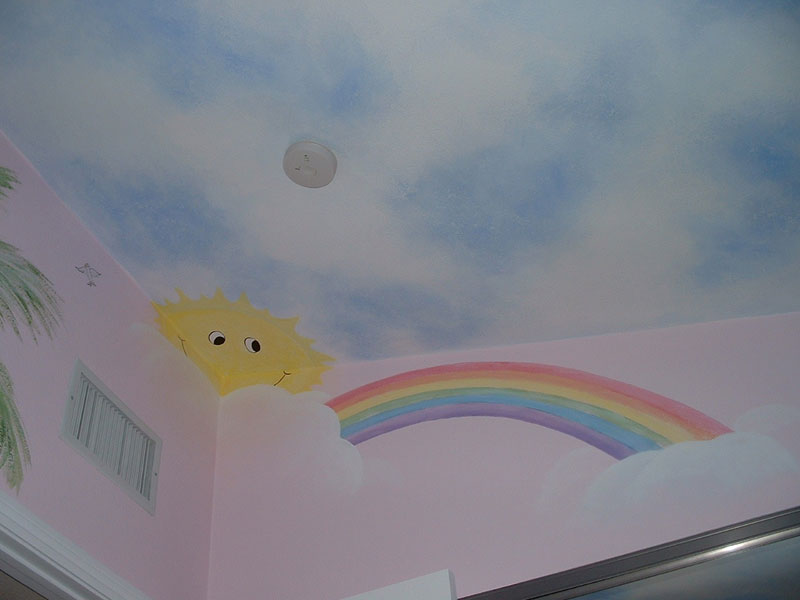 Girls bedrooms cloud painted ceiling home decorating ideas for Ceiling cloud mural