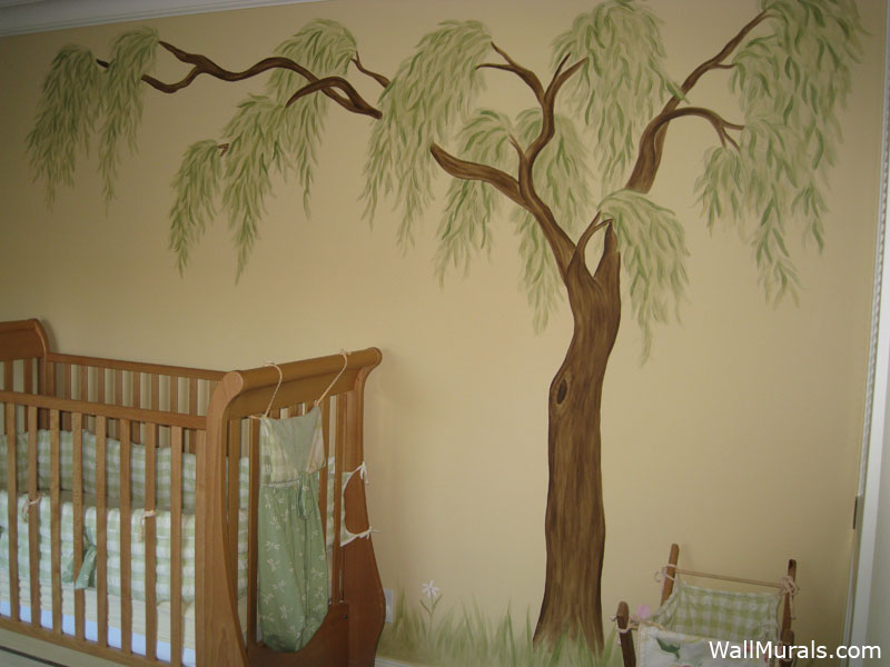 Tree wall murals by colette tree paintings on walls for Baby room tree mural