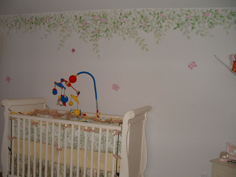 Bed borders for babies images for Baby room tree mural
