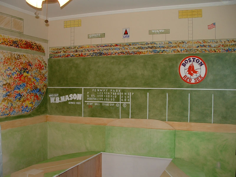 Boys room wall murals by colette wall murals for boys for Baseball field wall mural