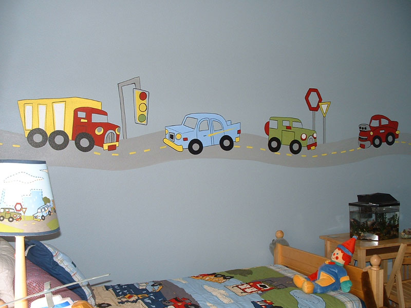 Transportation theme wall sticker decals for boys room for Boys room wall mural