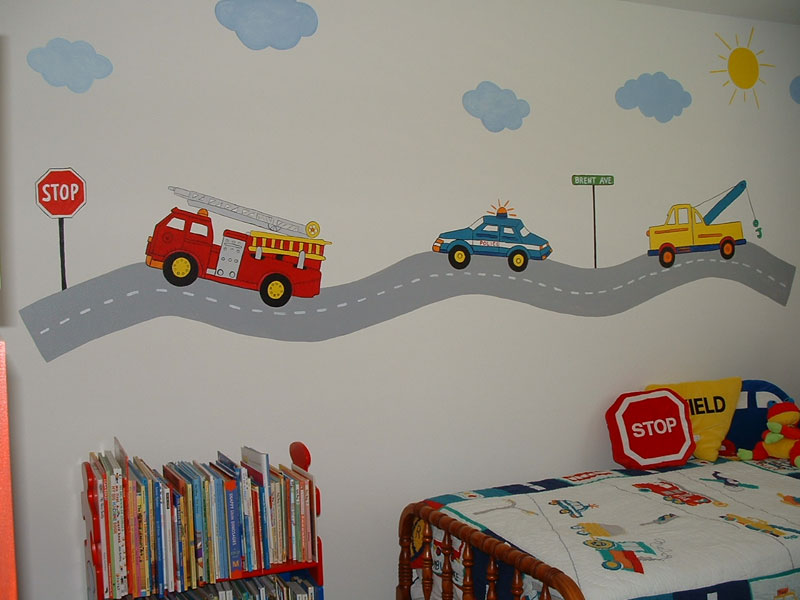 Wall murals by colette transportation theme wall murals for Boys wall mural
