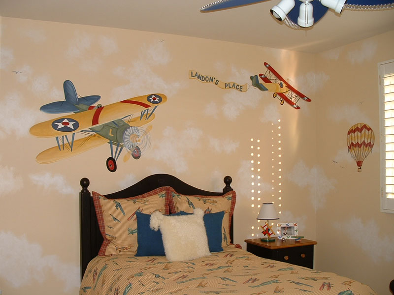 Wall murals by colette transportation theme wall murals for Aviation wall mural