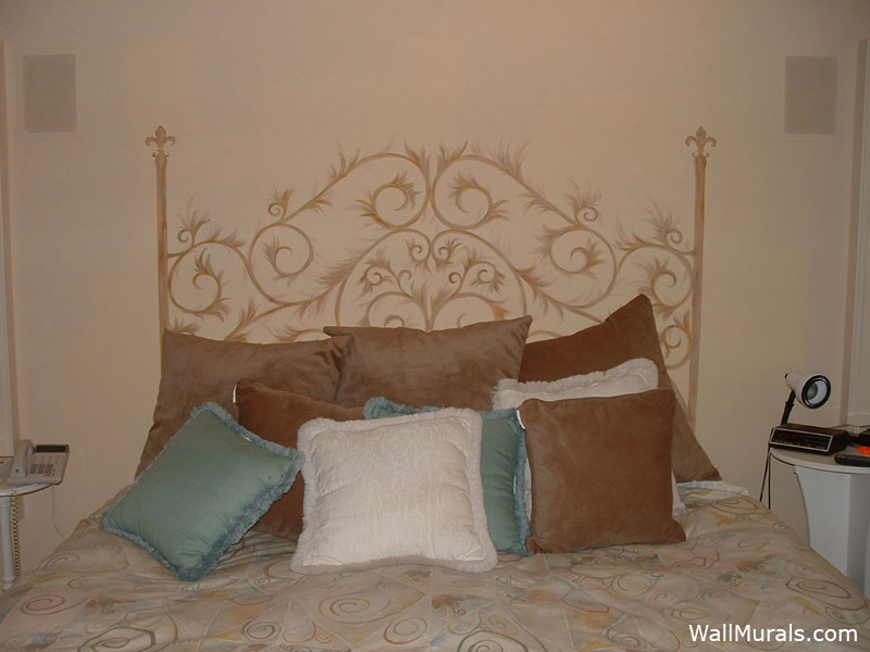 Master bedroom wall murals by colette wall murals in for Painted on headboard