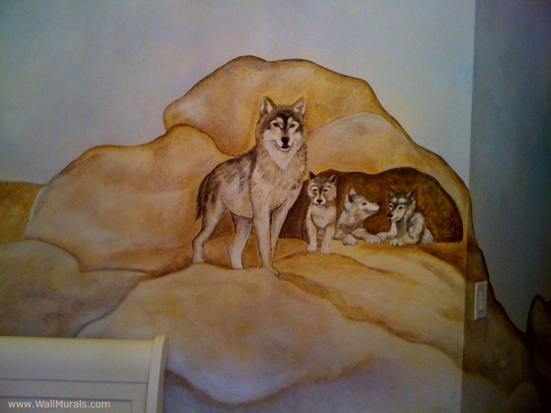 nature wall murals by colette nature wall murals huge 3d window lone wolf at night view wall sticker mural