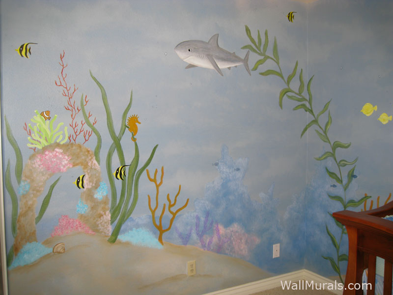 Ocean themed wall murals surf themed murals beach for Beach themed mural