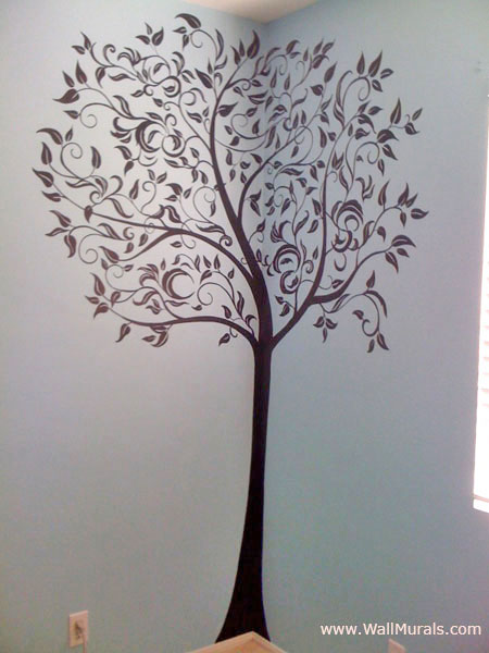 Tree wall murals by colette tree paintings on walls for Black tree mural