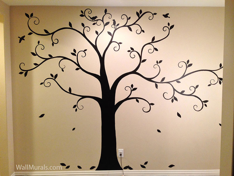 Tree wall murals by colette tree paintings on walls for Black tree wall mural