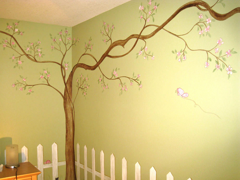 Tree mural 2017 grasscloth wallpaper for Cherry blossom tree mural