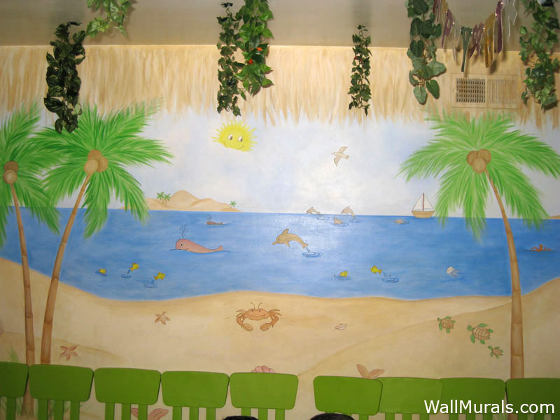 Ocean wall murals beach themed murals undersea animals for Beach themed mural