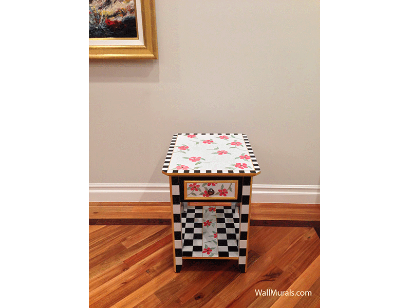 Hand-Painted End Table with Checkers and Flowers