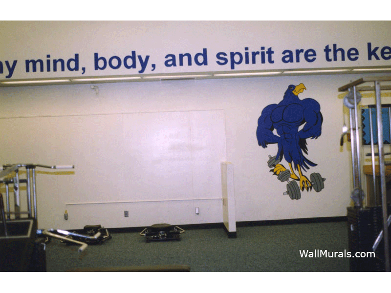 Painted School Mascot and Quote in Gym