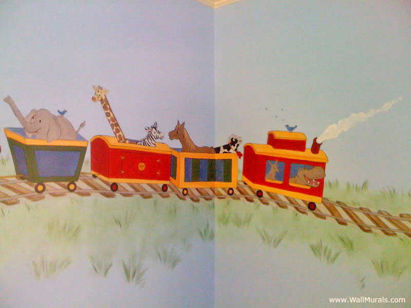 Animals in Train Wall Mural