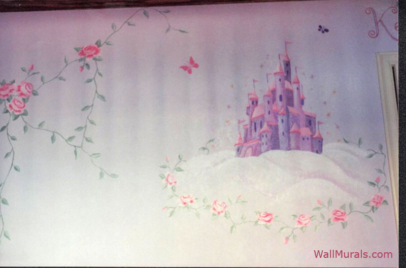 Purple and Pink Castle Mural with Roses