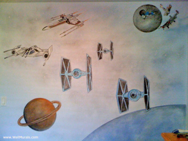 Fighter Ships in Space Mural