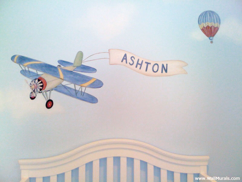 Vintage Biplane Mural - Hot Air Balloon