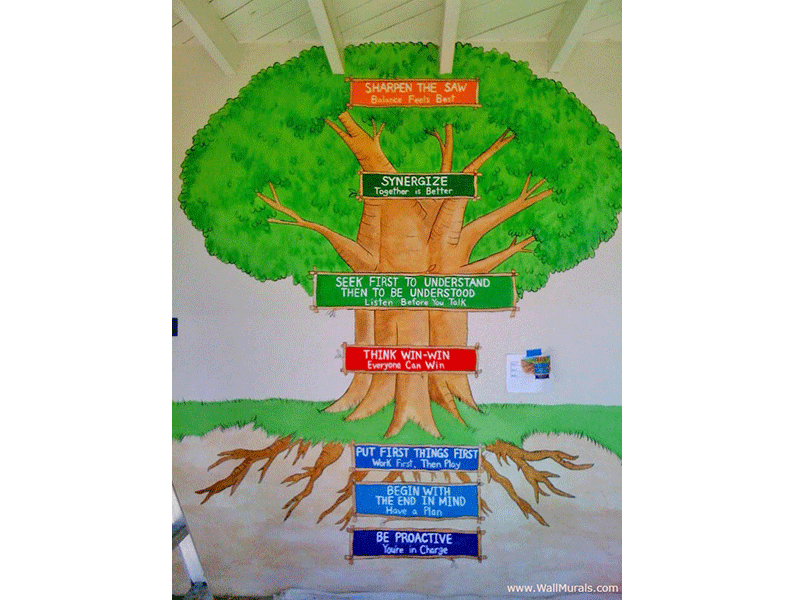 Tree wall murals 50 hand painted tree wall mural examples for 7 habits tree mural