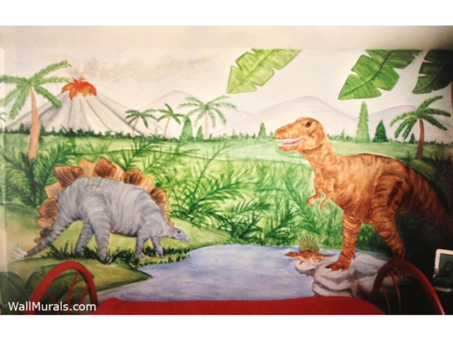 28 dinosaurs murals walls dinosaur wall mural for Examples of mural painting
