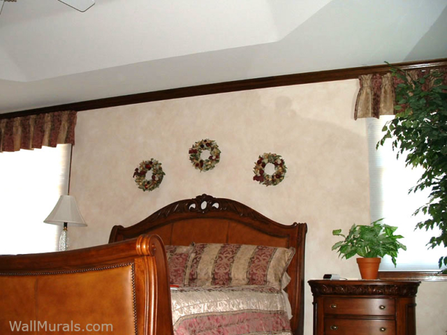 Neutral Color Faux Wall Treatment in Master Bedroom