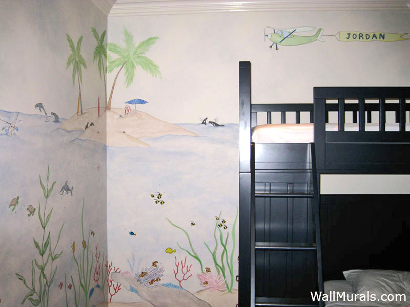 Ocean Wall Mural with Island