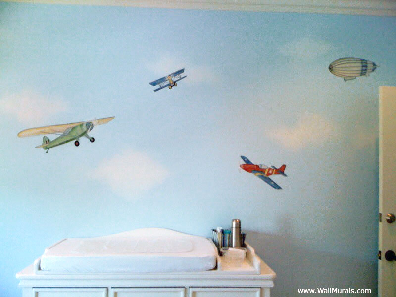 Transportation wall murals examples of transportation murals for Airplane wall mural