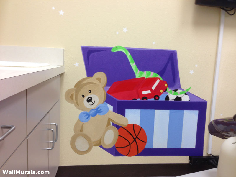 Painted Toy Chest Mural in Child Dentistry Office