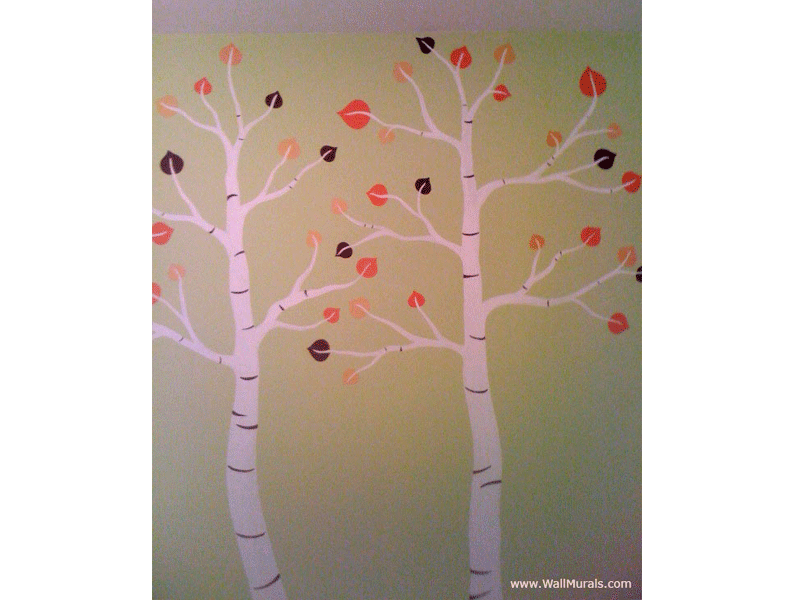 Tree wall murals 50 hand painted tree wall mural examples for Autumn tree mural