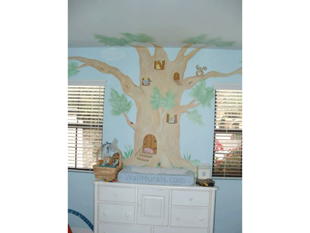 Tree Wall Mural with Animals