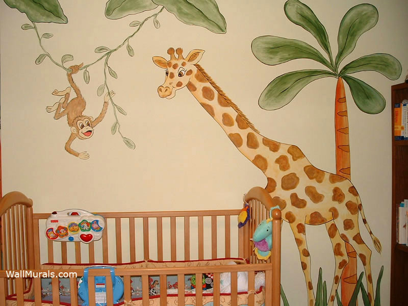 Jungle wall murals examples of jungle theme murals for Baby jungle mural