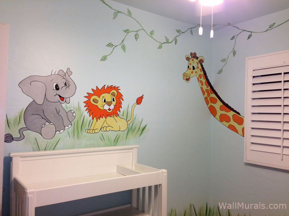 Jungle wall murals examples of jungle theme murals for Baby nursery mural