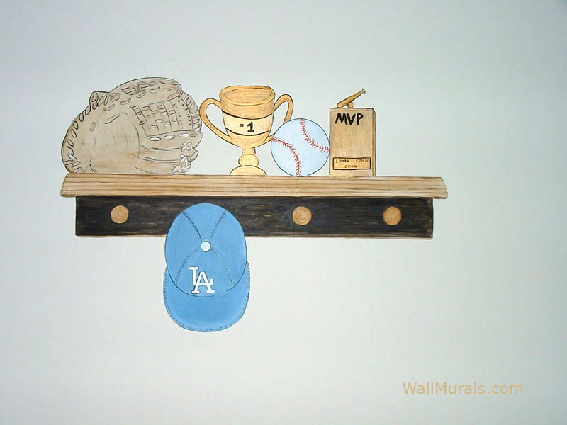 Painted Mural of Trophy Shelf