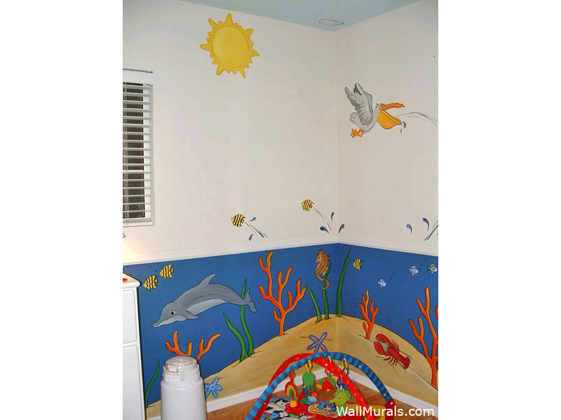 Ocean mural on pinterest ocean kids rooms beach mural for Baby nursery mural