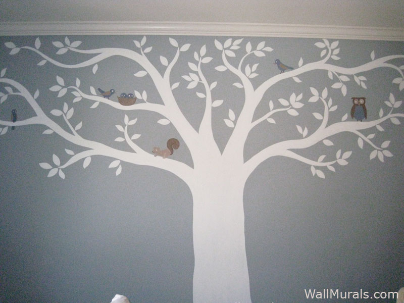 Tree wall murals 50 hand painted tree wall mural examples for Black tree mural