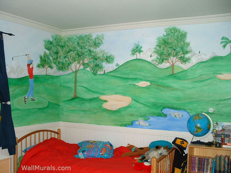 sports wall murals examples of sports murals golf scenes tee off wall mural contemporary wallpaper