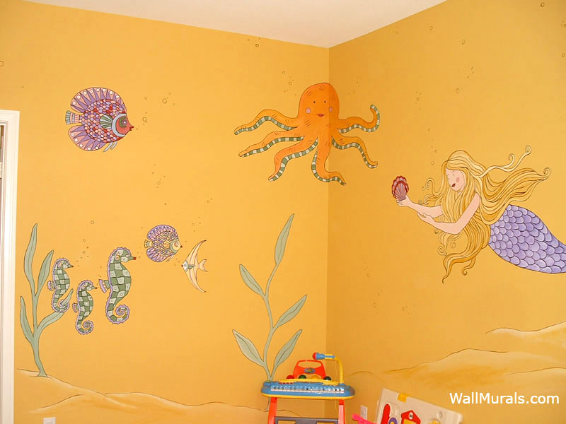 Octopus Wall Mural with Fish