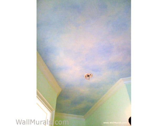 Faux Painted Sky on Ceiling