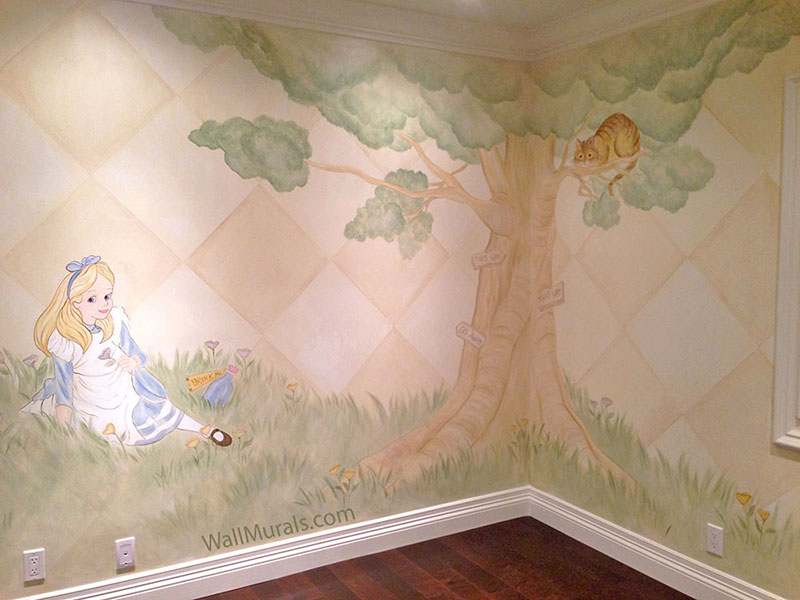Tree wall murals 50 hand painted tree wall mural examples for Alice in wonderland mural