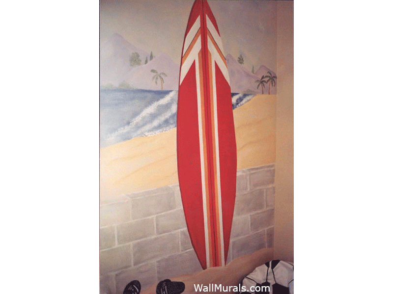 Beach Wall Mural with Surfboard