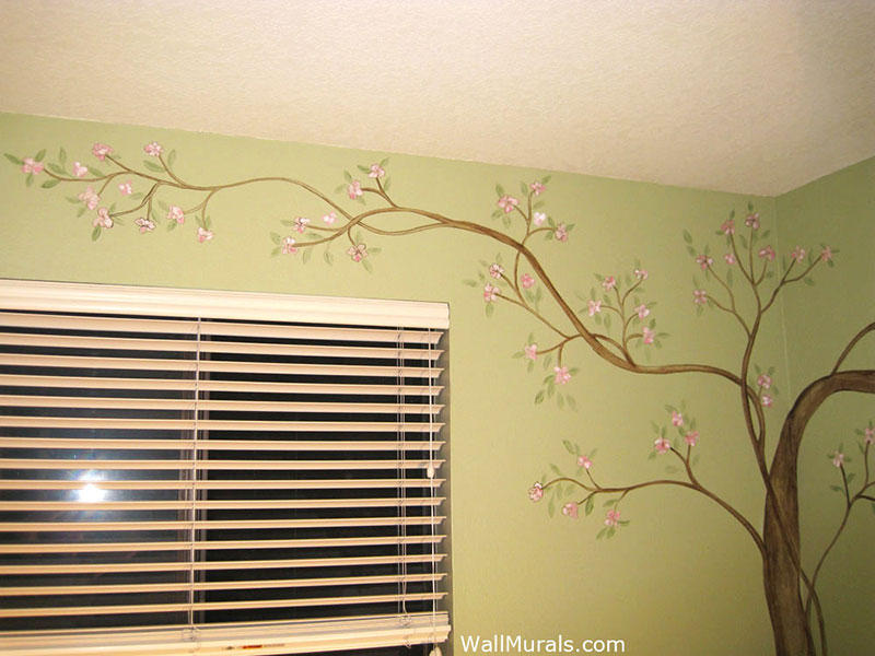 Tree wall murals 50 hand painted tree wall mural examples for Cherry blossom tree wall mural